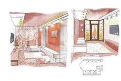 The interior of the kidsroom. The classic interior hand drawn sketch interior design Stock Photos