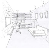 The interior of the kidsroom. The modern interior of the kidsroom hand drawn sketch interior design Stock Photos