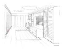 The interior of the kidsroom. The modern interior hand drawn sketch interior design Stock Photography