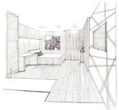 The interior of the kidsroom. The modern interior hand drawn sketch interior design Royalty Free Stock Photo