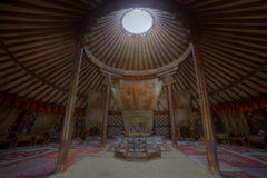 Interior of King's grand Ger in Mongolia. View of interior of the King's grand ger in Mongolia Stock Images