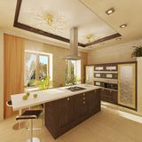 Interior of kitchen. 3d rendering image Royalty Free Stock Photography