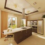 Interior of kitchen. 3d rendering image Vector Illustration