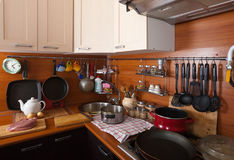 Interior of kitchen. With utensils Royalty Free Stock Photo