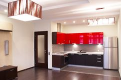 Interior. Kitchen. Interior of the modern kitchen stock photography