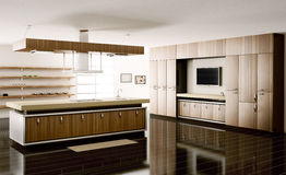 Interior of kitchen 3d render. Interior of modern kitchen 3d render Stock Photos