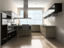 Interior of kitchen. Modern interior to kitchens with home appliances stock images