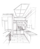 The interior of the kitchen. The classic interior hand drawn sketch interior design Stock Photography