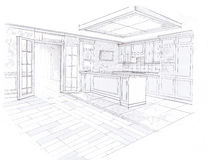 The interior of the kitchen. The classic interior hand drawn sketch interior design Royalty Free Stock Photos
