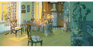 Interior of a kitchen. Color hand-drawn interior of a kitchen vector illustration