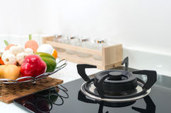 Interior kitchen, detail of electric stove Stock Photography