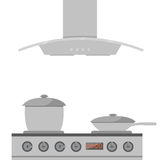 Interior of kitchen. Metal pan on the stove, cooking. Vector illustration in flat style Royalty Free Stock Photo