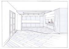 The interior of the kitchen. The minimalism interior hand drawn sketch interior design Stock Photo