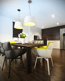 Interior of kitchen with modern furniture Royalty Free Stock Images