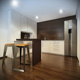Interior of kitchen with modern furniture Royalty Free Stock Photo