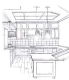 The interior of the kitchen. The modern interior of the kitchen hand drawn sketch interior design Stock Photo