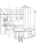 The interior of the kitchen. The modern interior of the kitchen hand drawn sketch interior design Royalty Free Stock Photo