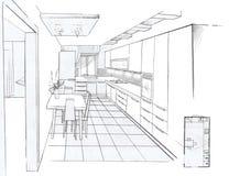 The interior of the kitchen. The modern interior hand drawn sketch interior design Stock Photo