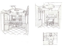 The interior of the kitchen. The modern interior hand drawn sketch interior design Stock Photography