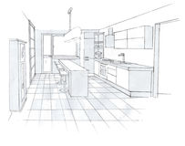The interior of the kitchen. The modern interior hand drawn sketch interior design Royalty Free Stock Images