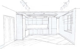 The interior of the kitchen. The modern interior of the kitchen room hand drawn sketch interior design Royalty Free Stock Photos