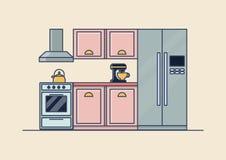 Interior of kitchen room, kitchenware royalty free illustration