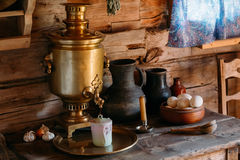 Interior of kitchen room in russian traditional Stock Photos