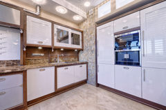 The interior of the kitchen. Russia Moscow - Modern interior kitchen design of urban real estate Royalty Free Stock Photography