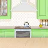 Interior of kitchen with stove and cupboards Royalty Free Stock Photography