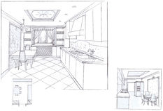 The interior of the kitchen. Theclassic interior hand drawn sketch interior design Stock Photography