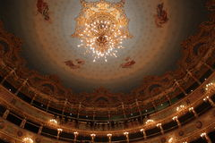 Interior of La Fenice Theatre, chandelier Royalty Free Stock Photography