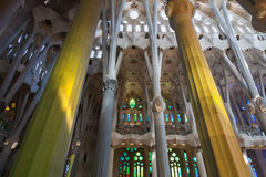 Interior of La Sagrada Familia Stock Images