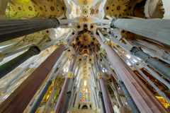 Interior of La Sagrada Familia. Basilica designed by Antoni Gaudi, started in 1882 and still under construction at August 04, 2013 in Barcelona, Spain Royalty Free Stock Photography