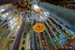 Interior of La Sagrada Familia. Basilica designed by Antoni Gaudi, started in 1882 and still under construction at August 04, 2013 in Barcelona, Spain Stock Photo