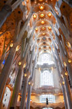 The interior of La Sagrada Familia, the cathedral designed by Gaudi. Stock Photos