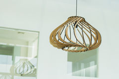 Interior lamp design. Interior wood lamp design, decoration Royalty Free Stock Images