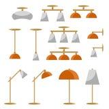 Interior lamp vector icon set. Royalty Free Stock Photos