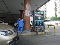 Interior landscape of automobile gas station Stock Photo