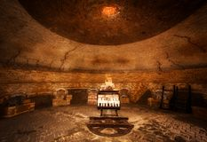 Interior of a large brick making kiln royalty free stock images