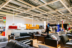 Interior of large IKEA store with a wide range of products in Malmo, Sweden royalty free stock photos