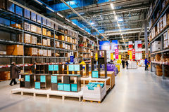 Interior of large IKEA storehouse with a wide range of products in Malmo, Sweden Royalty Free Stock Image