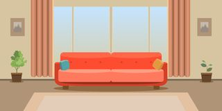 Interior of a large living room. Modern and trendy flat design. Vector illustration. stock illustration