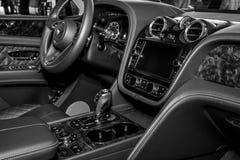 Interior of the large luxury crossover SUV Bentley Bentayga, 2016. Stock Photography