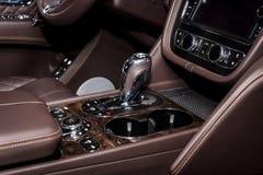 Interior of the large luxury crossover SUV Bentley Bentayga, 2016. Stock Image