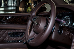 Interior of the large luxury crossover SUV Bentley Bentayga, 2016. Stock Images