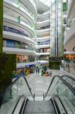 Interior of large modern shopping center Toptani, Tirana, Albania. TIRANA, ALBANIA - SEPTEMBER 6, 2017: Unknown people visit large modern shopping center Toptani Royalty Free Stock Image