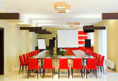 Interior of a large room for conferences and talks.  Royalty Free Stock Image