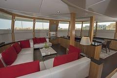 Interior of large salon area of luxury motor yacht Royalty Free Stock Photos