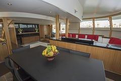 Interior of large salon area of luxury motor yacht Royalty Free Stock Image