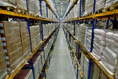 Interior of a large warehouse, with pallet racking Royalty Free Stock Photos